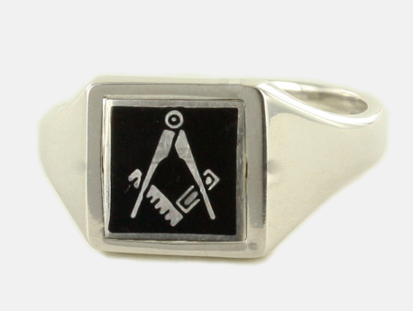 Black Reversible Square Head Solid Silver Square and Compass Masonic Ring